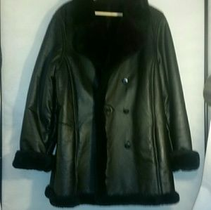 Wilson's leather black lined coat sz14(#1095)